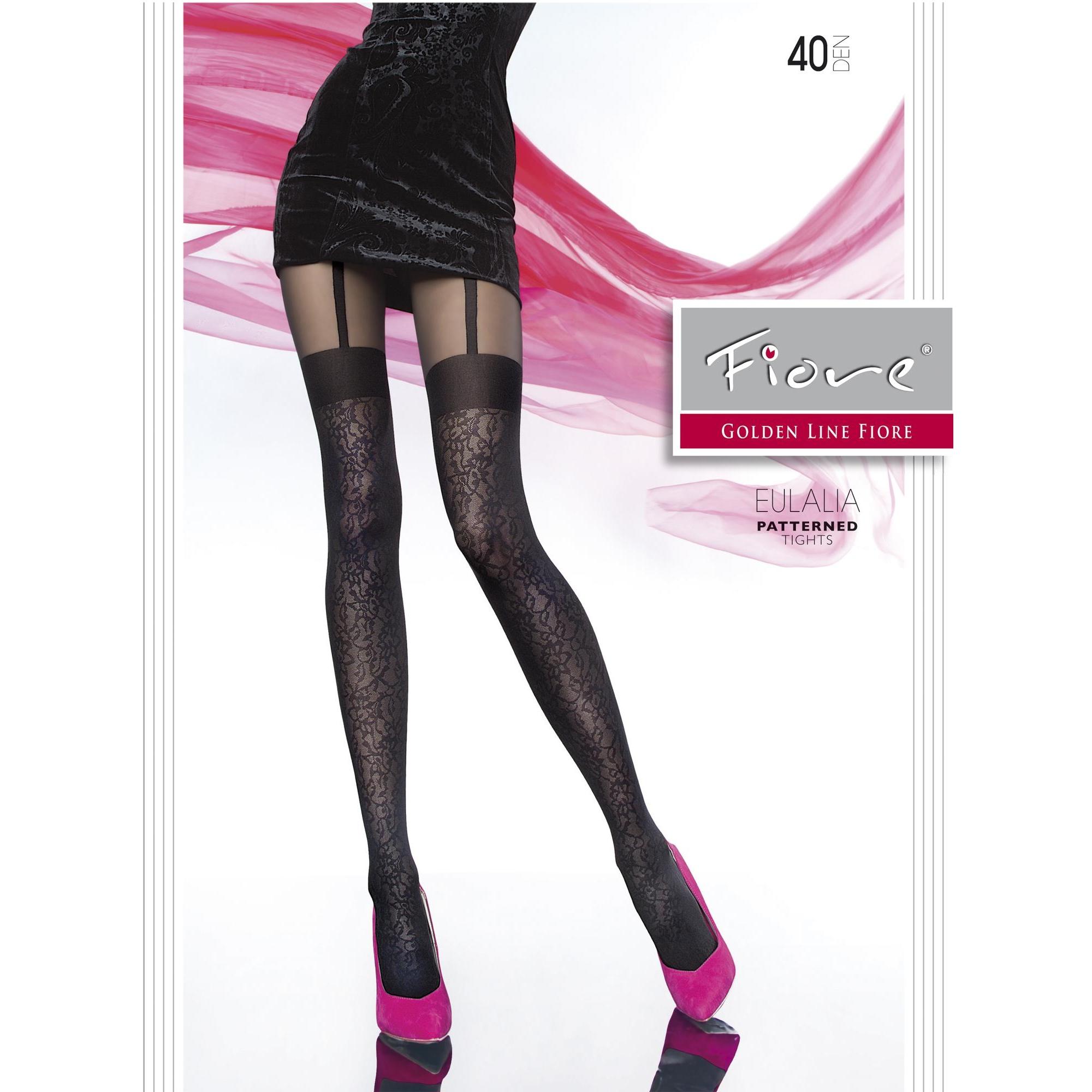 Fiore Eulalia G5598 calze donna tg 3 collant 40 den nero