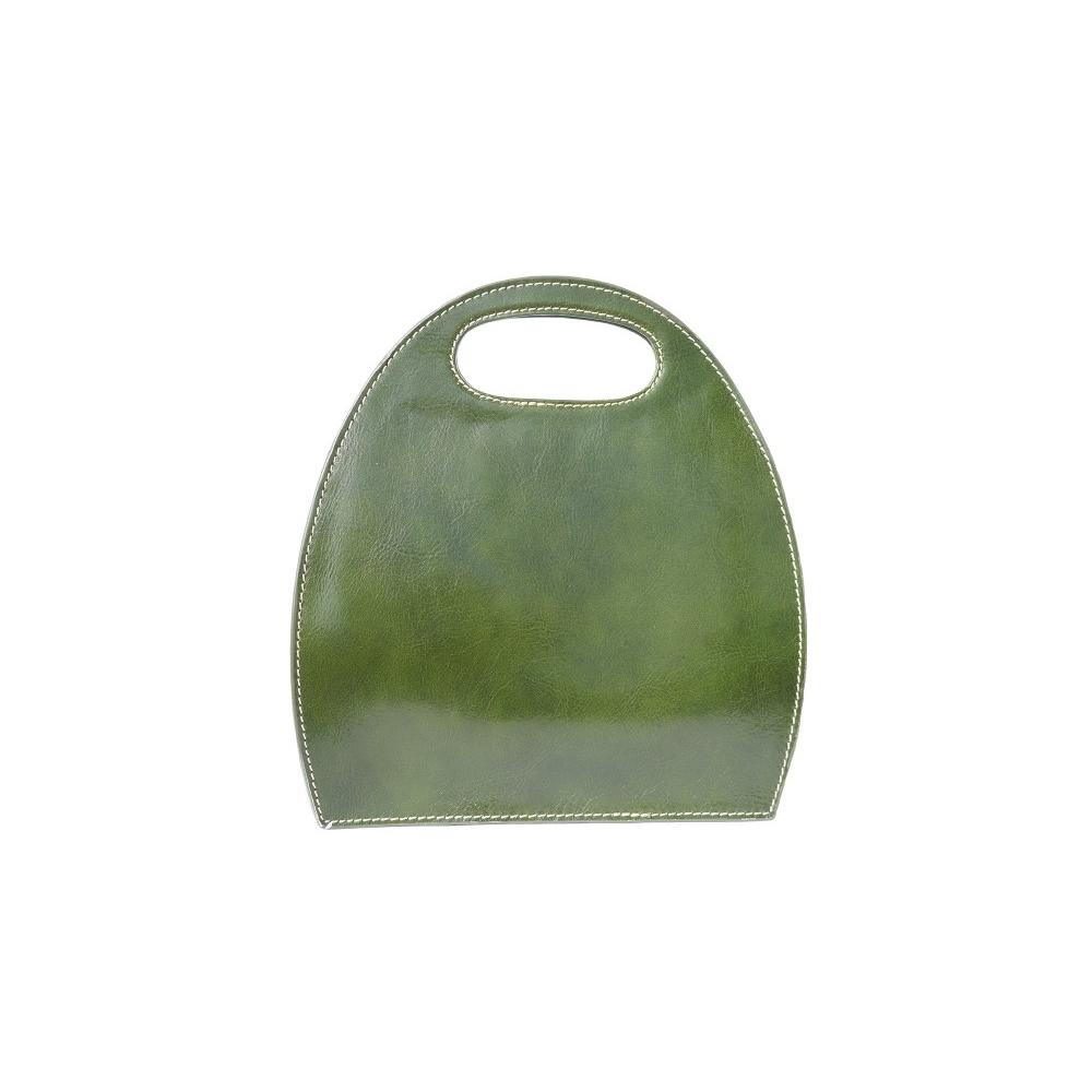 Borsa donna semiovale pelle Made in Italy con manico incorporato 6881 verde