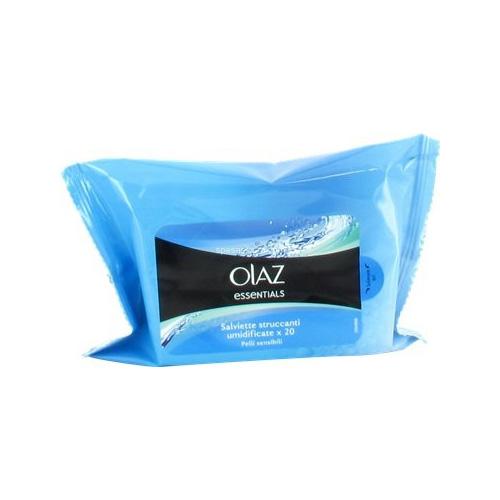 Olaz Salviette Detergenti Struccanti Con Aloe Vera Per Pelli Sensibili Skin Essential 1 Pacchetto Da 20 Salviettine