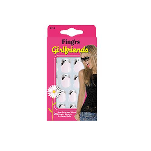 Fingrs Unghie Artificiali Decorate Autoadesive Girlfriend French Manicure 24 Unghie