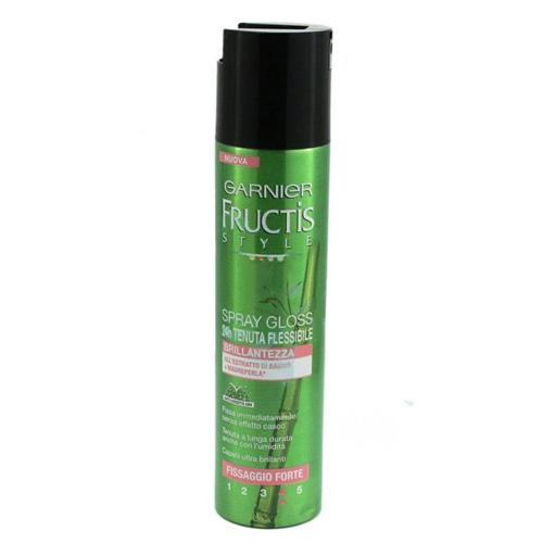 Garnier Fructis Lacca Spray Gloss 24H Tenuta Flessibile E Brillantezza Fissaggio Forte Style 250 Ml