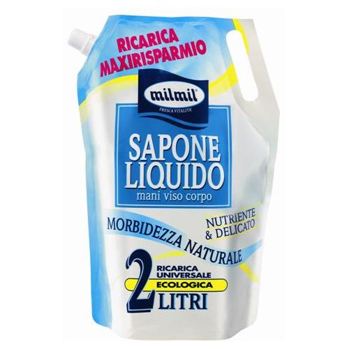 Mil Mil Sapone Liquido Per Mani Viso Corpo Nutriente E Delicato Ricarica 2 L