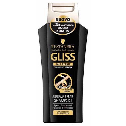 Testanera Shampoo Per Capelli Secchi E Danneggiati Gliss Supreme Repair Con Cheratina 250 Ml