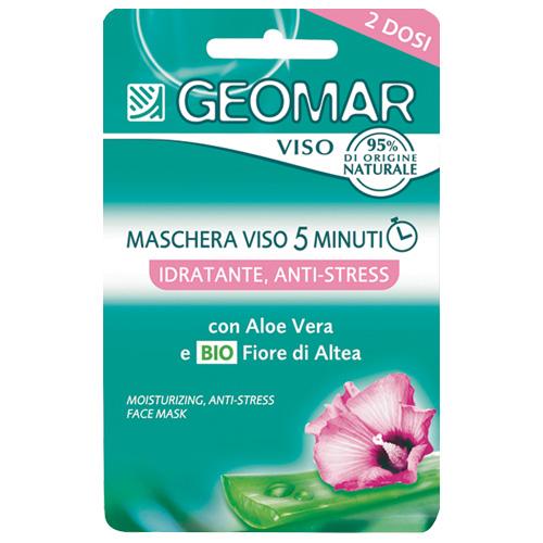Geomar Maschera Viso 5 Minuti Idratante Antistress Con Fiore Di Altea Biologico E Aloe Vera 2 Dosi Da 15 Ml