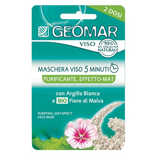 Geomar Maschera Per Il Viso 5 Minuti Purificante Effetto Mat Per Pelli Grasse Con Fiore Di Malva Biologico E Argilla Bianca 2 Dosi Da 15 Ml