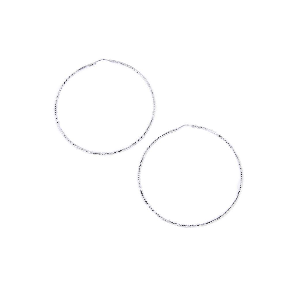 Paclo 10CR26CLFR999 Orecchini Argento a cerchio Galvanica Rodiata Diamantato