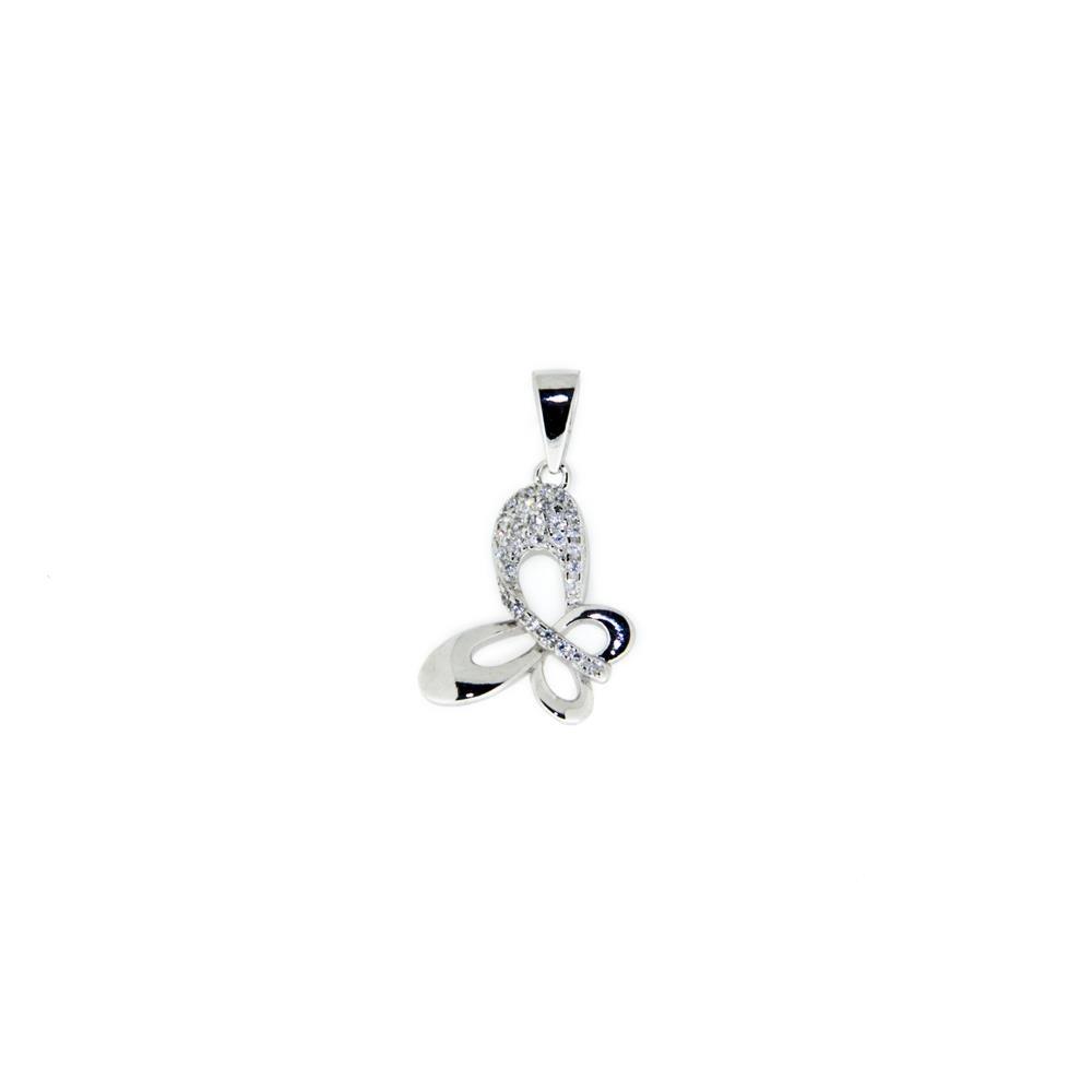 Paclo 11FA10IPPR999 Pendente Galvanica Rodiata con Microsetting Motivo Animali Zircone Bianco Farfalla