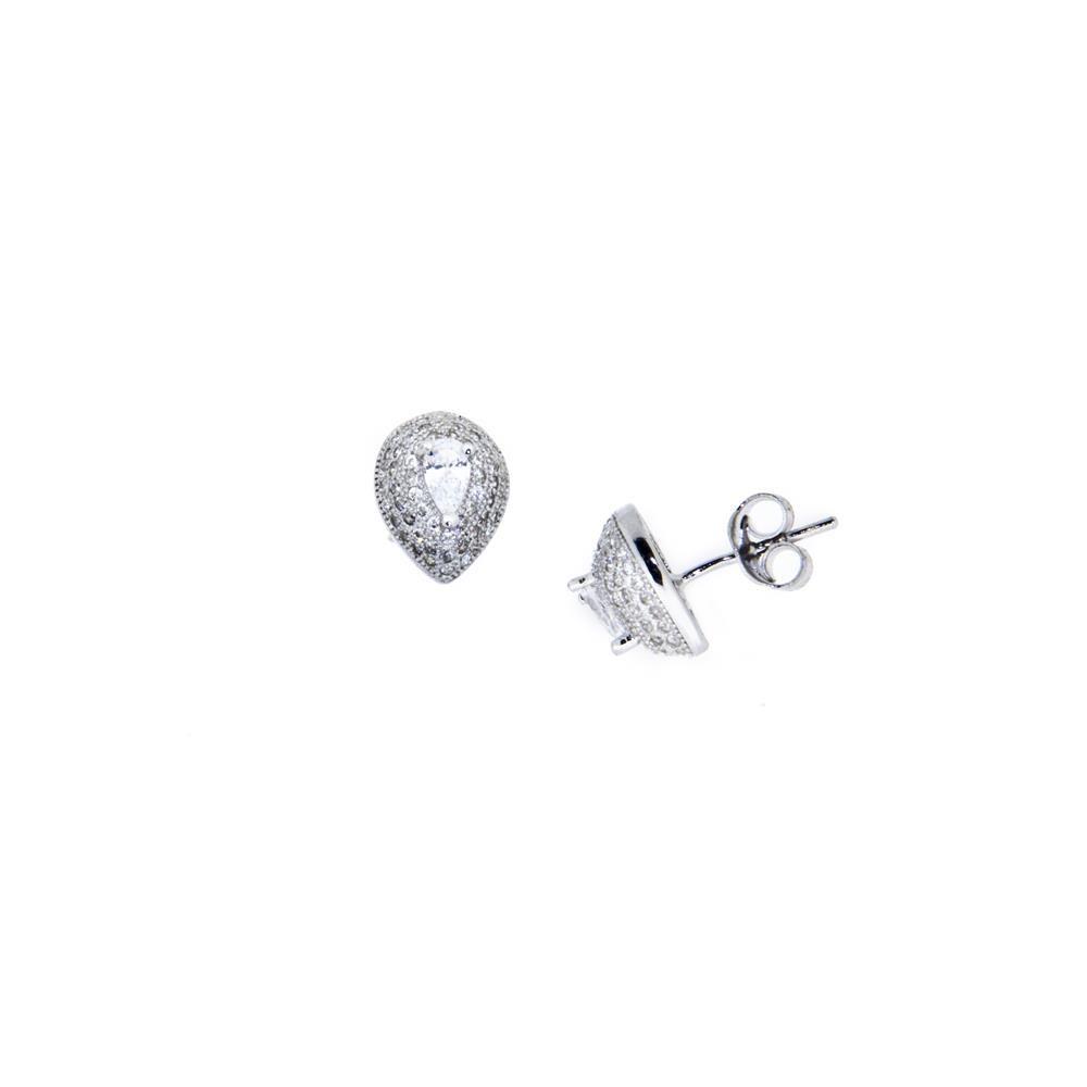 Paclo 11GO07IPER999 Orecchini Argento Galvanica Rodiata Zircone Bianco Goccia