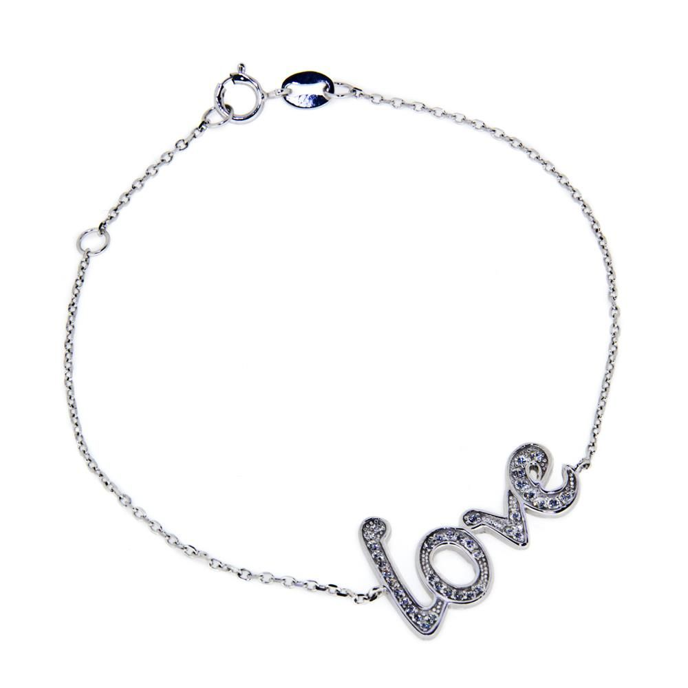 Paclo 11lo01ipbr999 bracciale argento galvanica rodiata motivo amore. zircone bianco