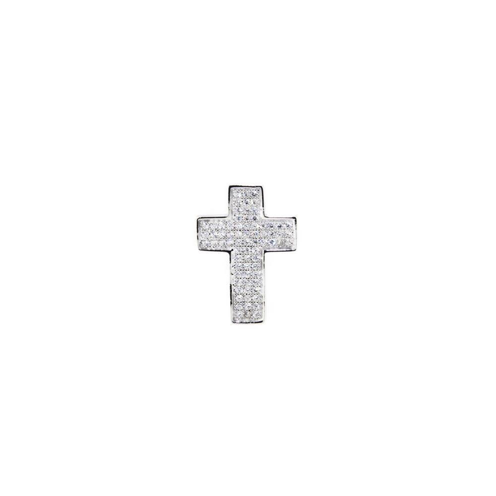 Paclo 11MS04IPPR999 Pendente Galvanica Rodiata con Microsetting Motivo Religioso Zircone Bianco