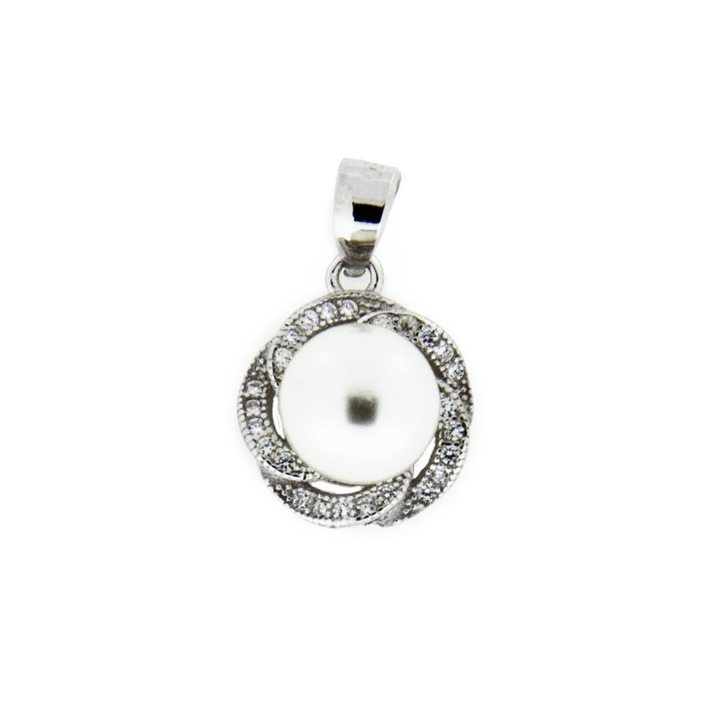 Paclo 11PE14IPPR999 Pendente Galvanica Rodiata Perle sintetiche Zircone Bianco 11cm