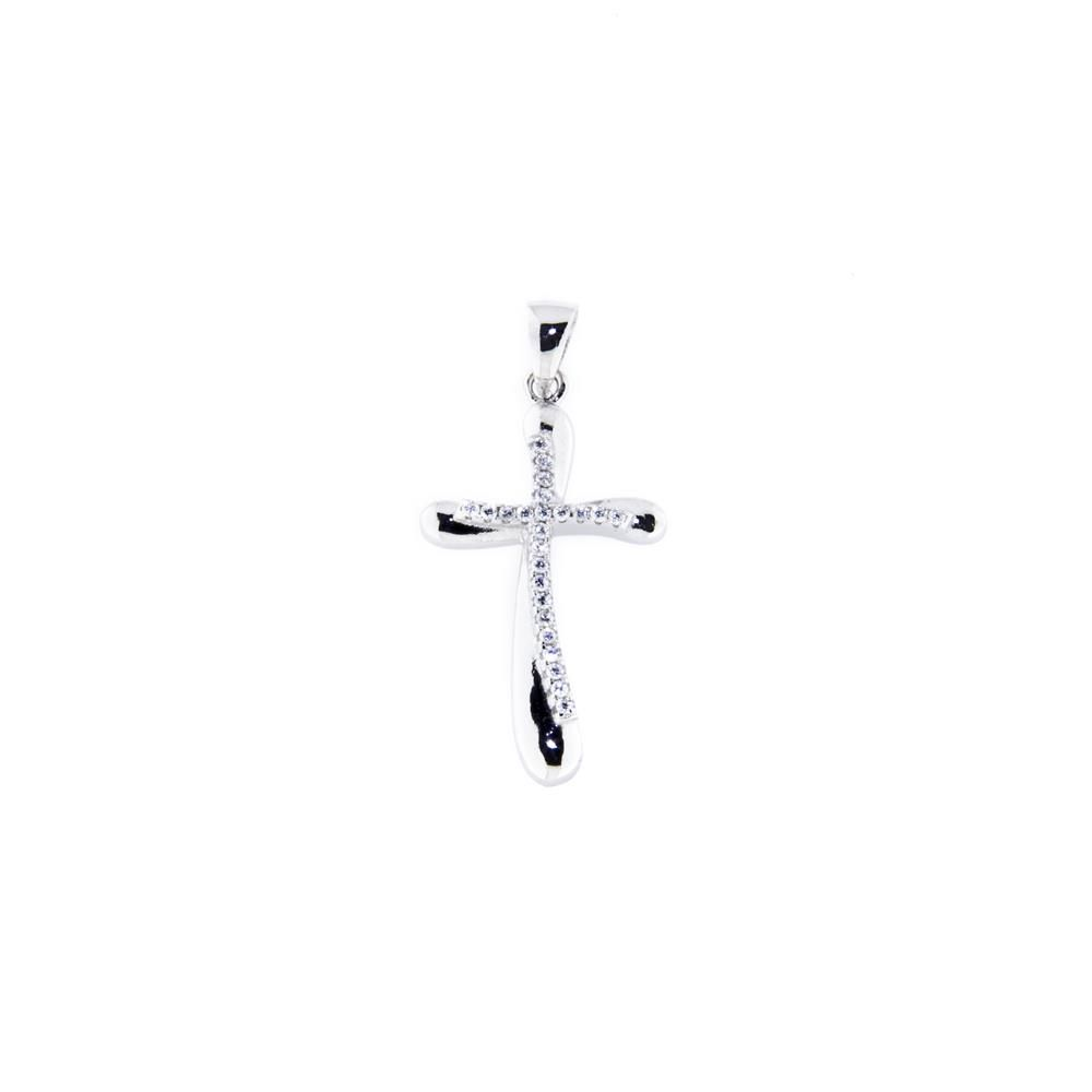 Paclo 14CR12REPR999 Pendente Galvanica Rodiata Motivo Religioso Zircone Bianco