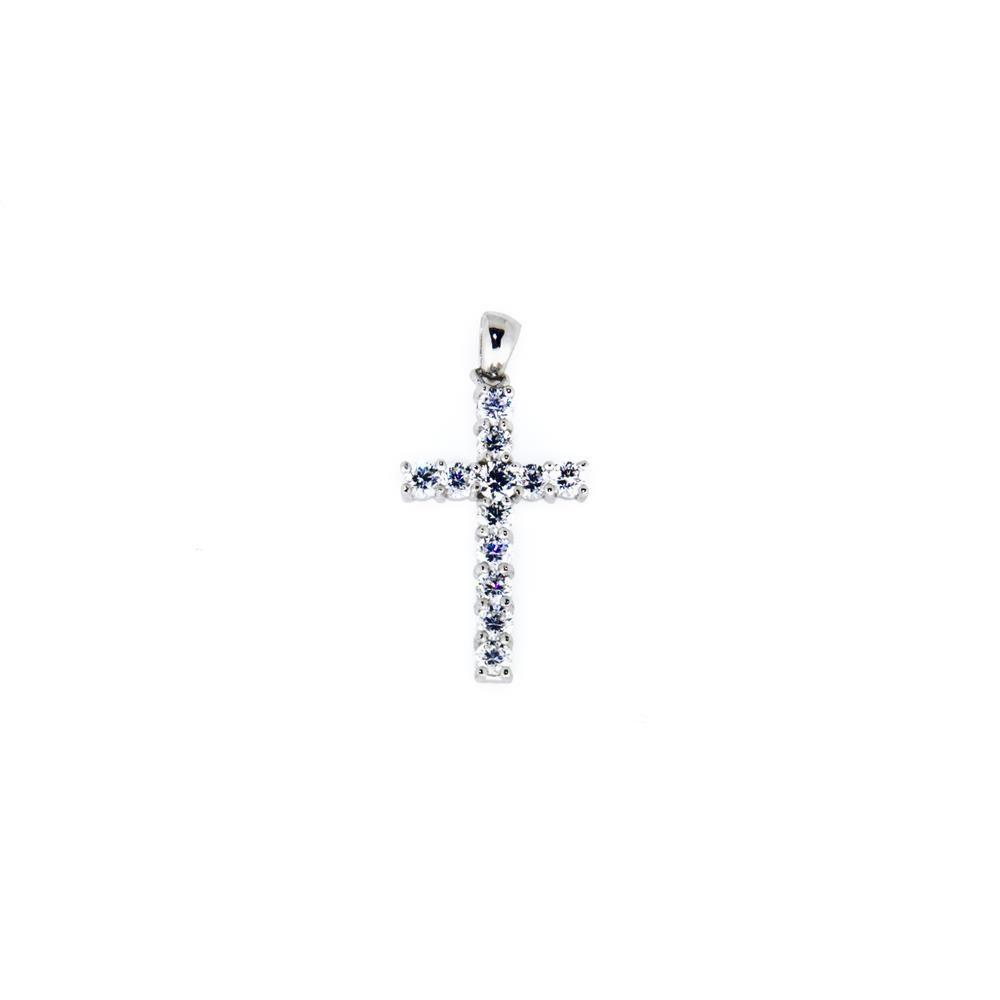Paclo 14CR21REPR999 Pendente Galvanica Rodiata Motivo Religioso Zircone Bianco