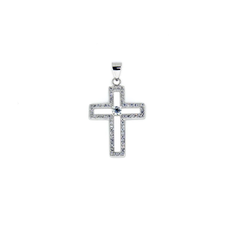 Paclo 14CR27REPR999 Pendente Galvanica Rodiata con Microsetting Motivo Religioso Zircone Bianco