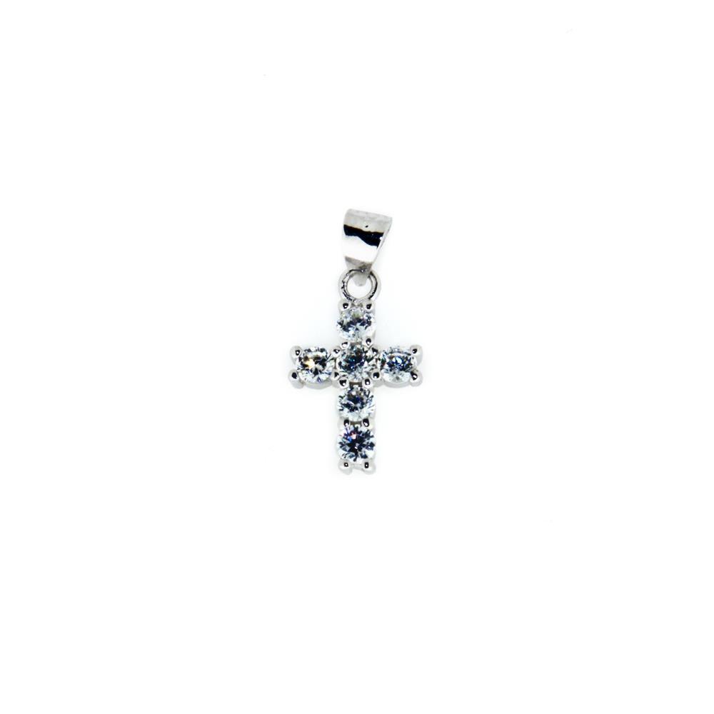 Paclo 14CR30REPR999 Pendente Galvanica Rodiata Motivo Religioso Zircone Bianco