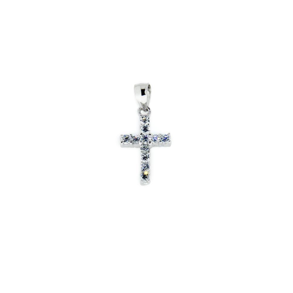 Paclo 14CR33REPR999 Pendente Galvanica Rodiata Motivo Religioso Zircone Bianco