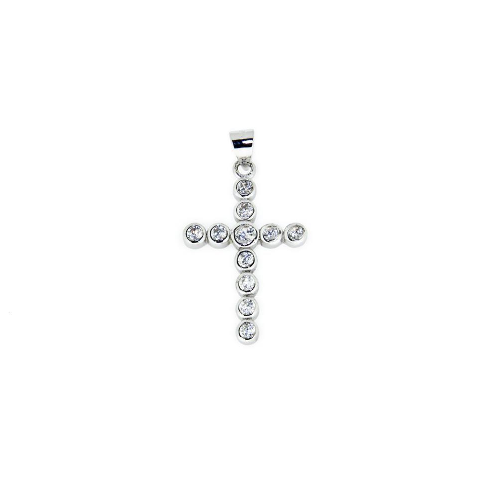 Paclo 14CR40REPR999 Pendente Galvanica Rodiata Motivo Religioso Zircone Bianco