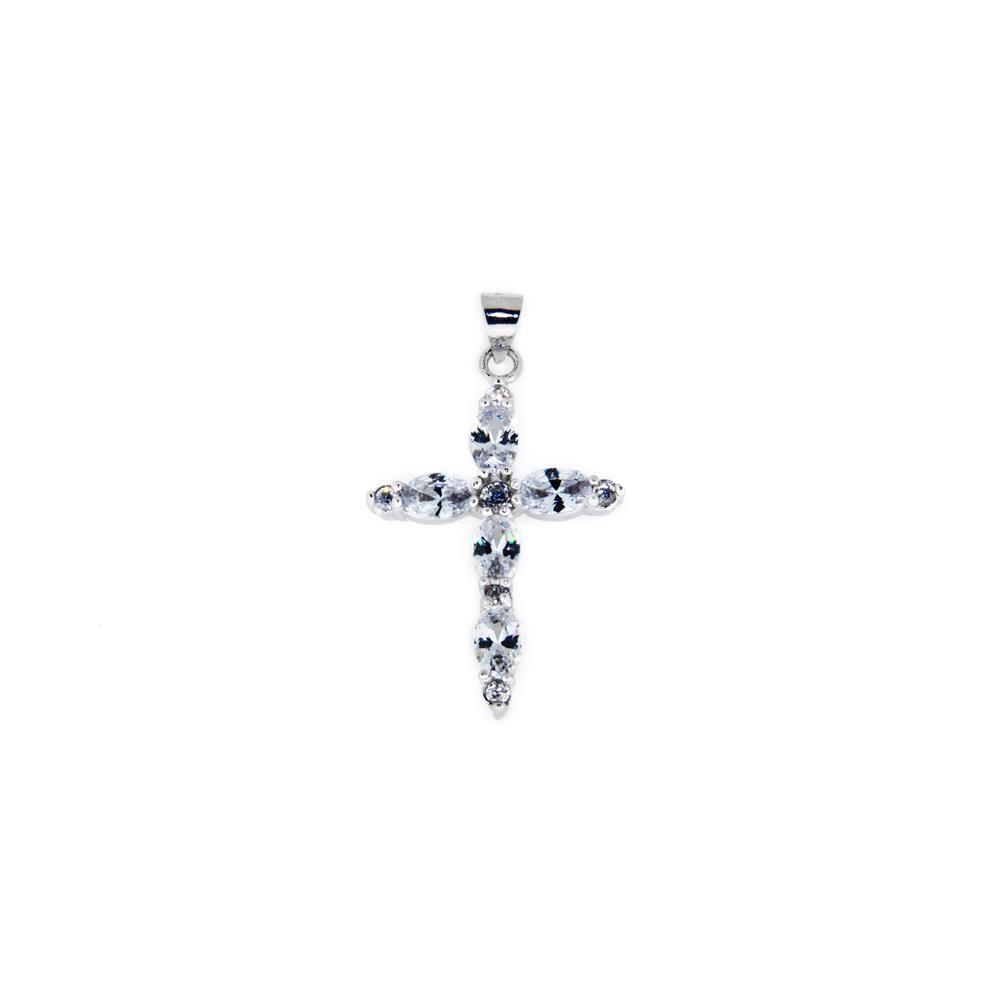 Paclo 14CR41REPR999 Pendente Galvanica Rodiata Motivo Religioso Zircone Bianco
