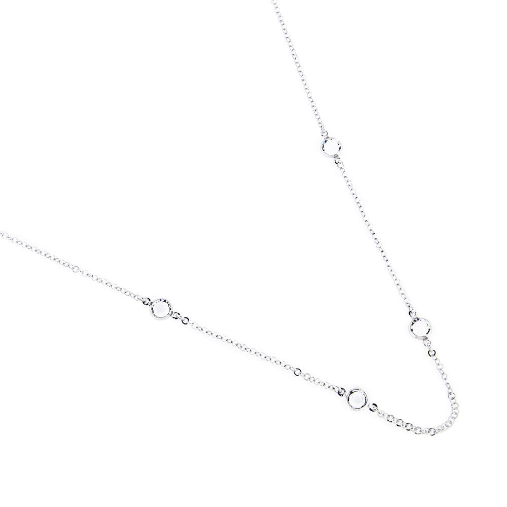 Paclo 14CY05STNR999 Collana Argento Galvanica Rodiata e Swarovski Crystal