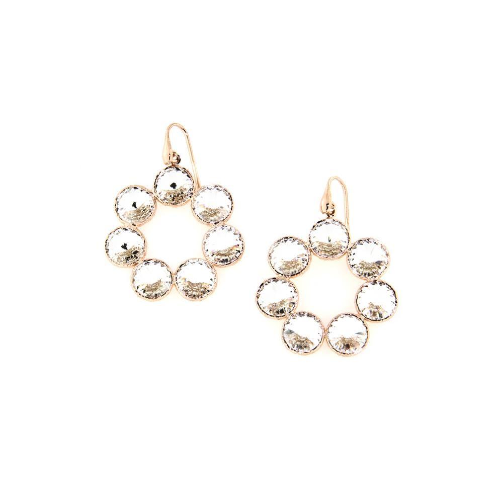 Paclo 14CYB5STEP999 Orecchini Argento Galvanica Rose e Swarovski Crystal