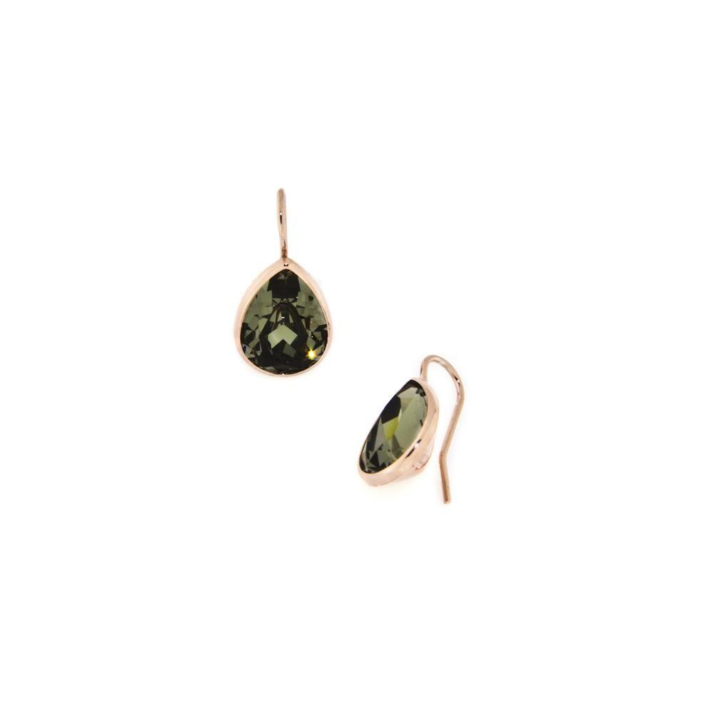Paclo 14CYG7STEP999 Orecchini Argento Galvanica Rose e Swarovski Black Diamond
