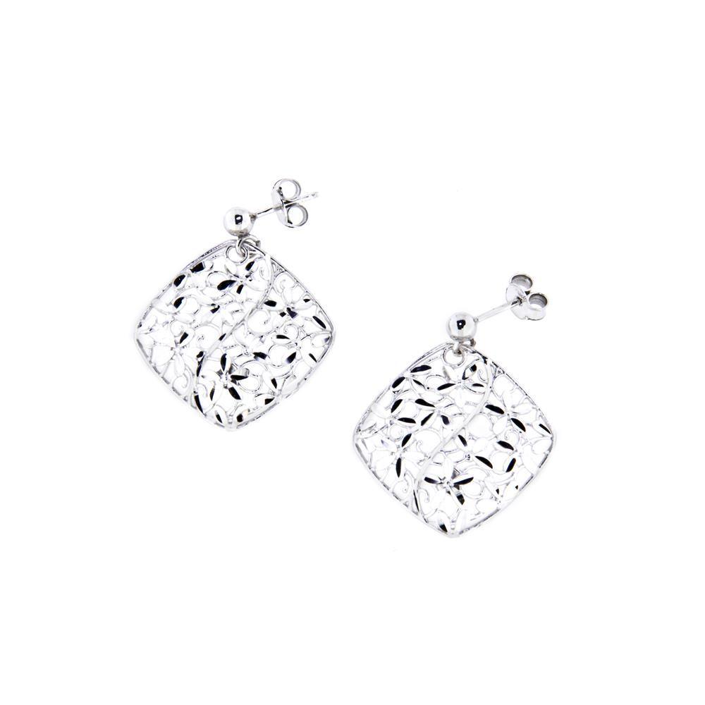 Paclo 14GO08LIER999 Orecchini Argento Galvanica Rodiata Diamantato Motivo Simboli Rombo