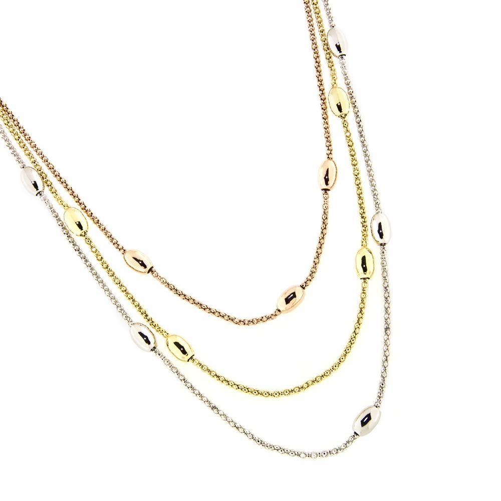 Paclo 14MG57ELNX999 Collana Argento Galvanica Multicolore Multifilo con Ovaline