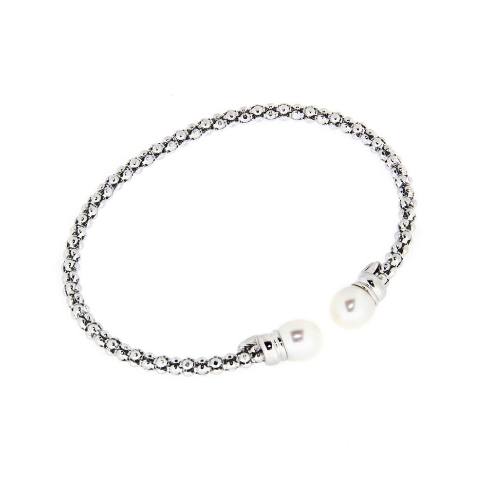 Paclo 14MG67ELDR999 Bracciale Argento schiava Galvanica Rodiata Perle sintetiche e coreana con anima dacciaio 050g