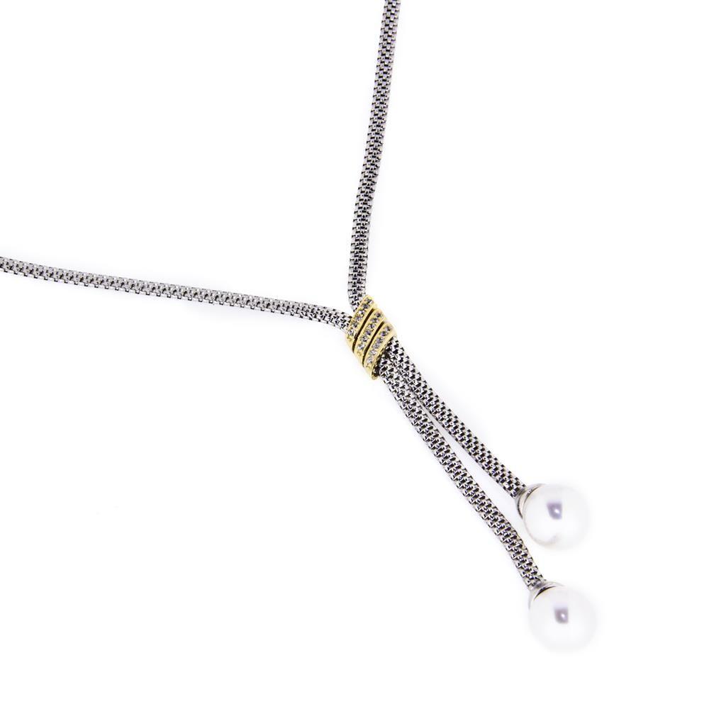 Paclo 14MG76ELNX999 Collana Argento Galvanica Multicolore Perle sintetiche Zircone Bianco