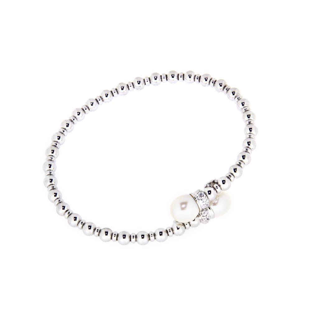Paclo 14PA02ELDR999 Bracciale Argento schiava Galvanica Rodiata Perle sintetiche e Swarovski Palline con anima dacciaio 050g