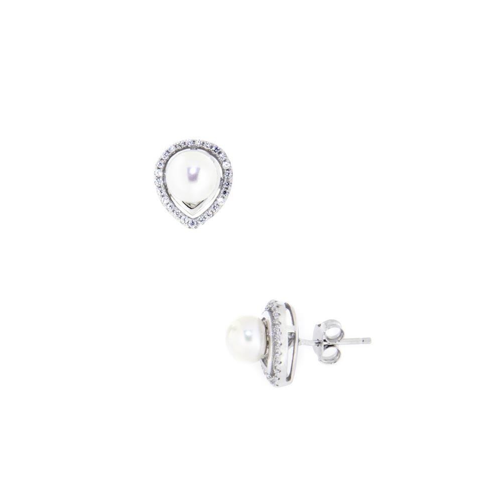 Paclo 14PZ15PNER999 Orecchini Argento Galvanica Rodiata Perle Naturali Zircone Bianco
