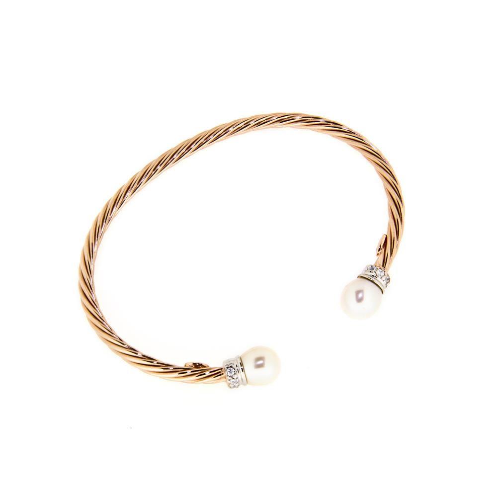 Paclo 14SP07CODP999 Bracciale Argento schiava Galvanica Rose Perle sintetiche Zircone Bianco con anima dacciaio 050g