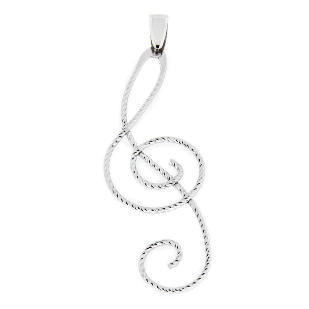 Paclo 15nm05lipr999 pendente galvanica rodiata diamantato chiave di violino 4cm