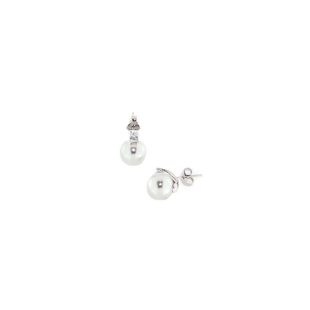Paclo 14PE14CYER999 Orecchini Galvanica Rodiata Perle sintetiche Zircone Bianco 10mm