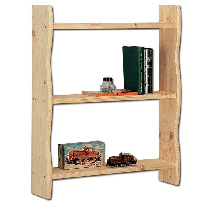 Libreria da muro in legno massello grezzo di abete 60x15x70 cm