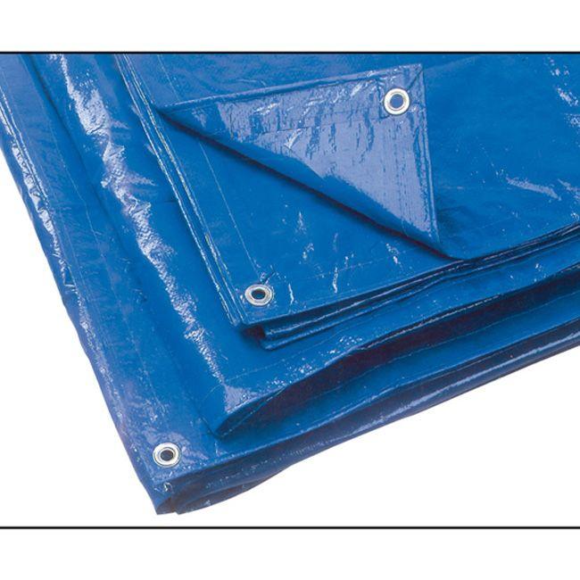 Telo occhiellato in polietilene mt 6x10 colore blu