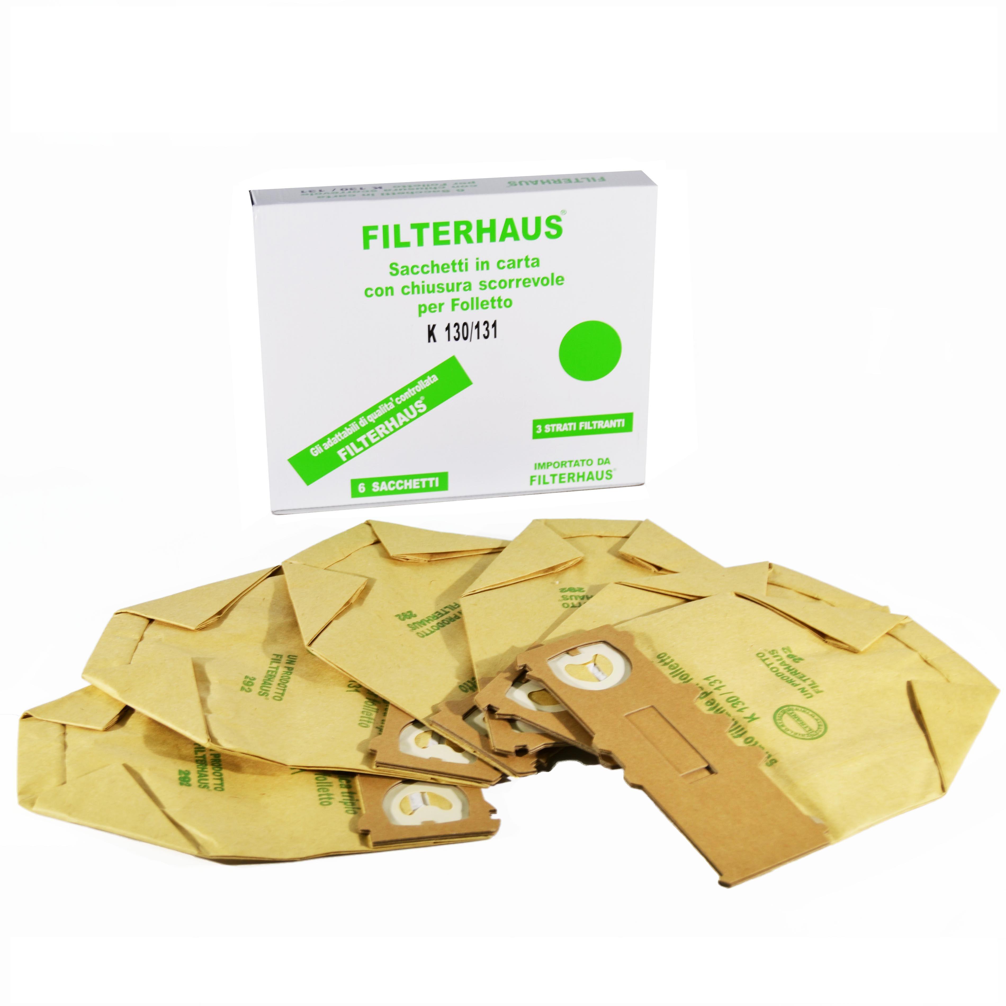 Kit 6 sacchetti in carta compatibili per aspirapolvere folletto vk 130 – 131