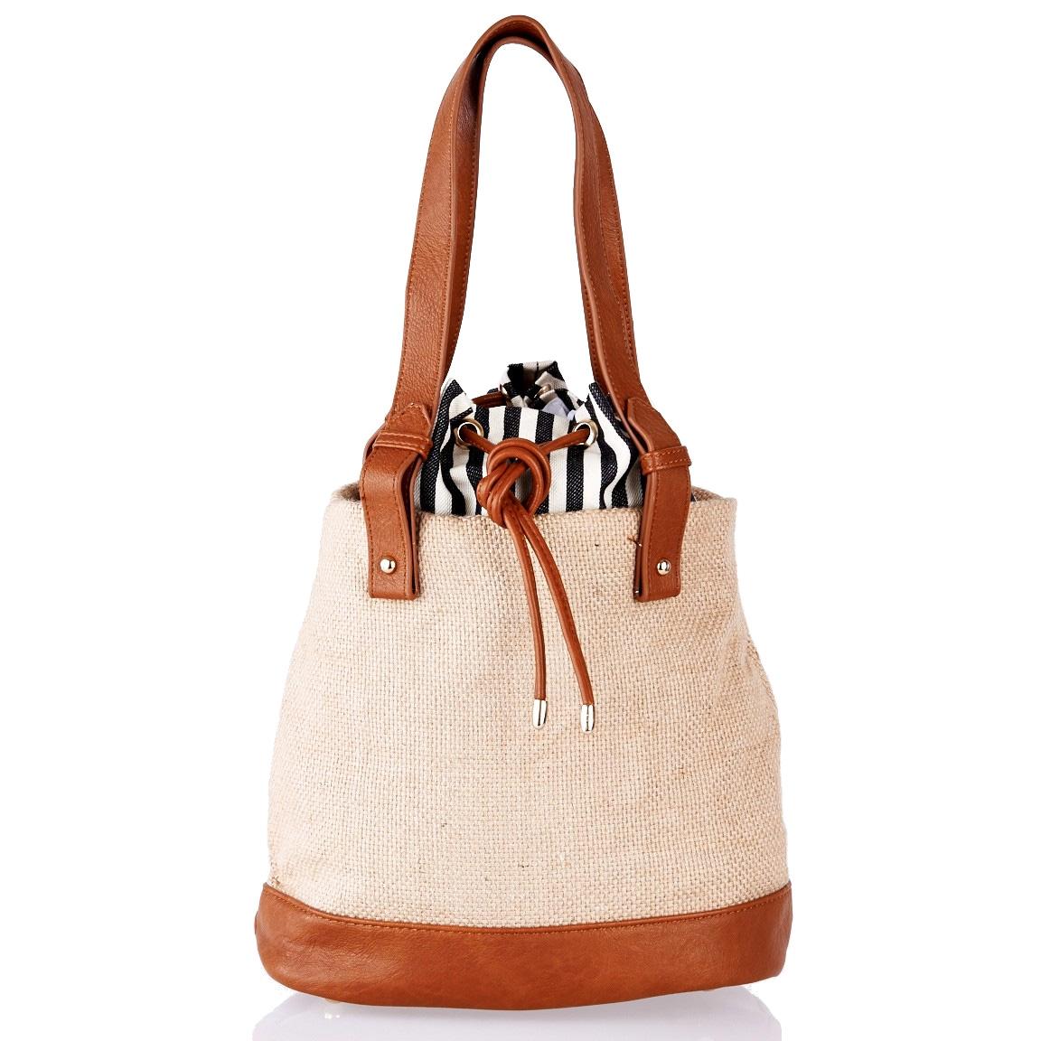Shopping bag LN3100002Beige  Large Straw Detail Shopper Bag