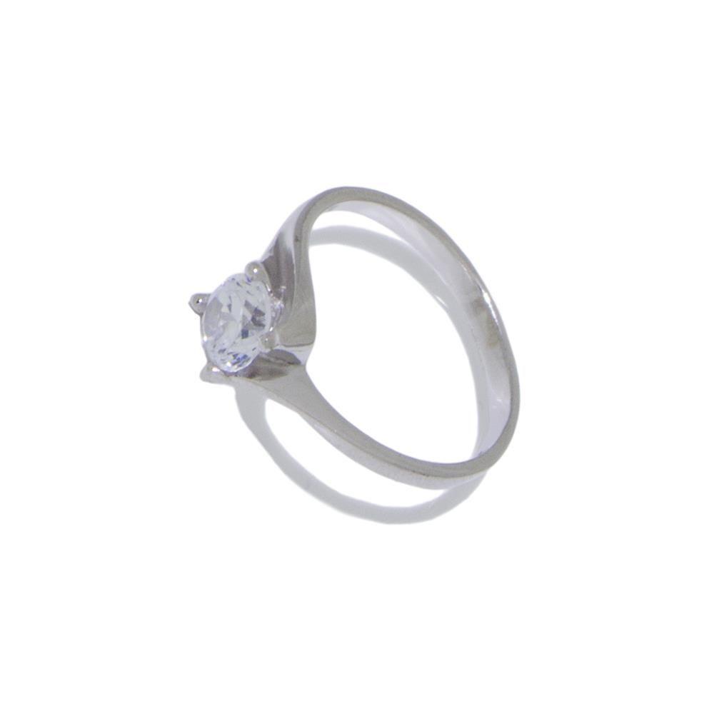 Paclo 11CR06IPRR996 Anello Dim 14 ITA o 54 ISO Galvanica Rodiata Zircone Bianco