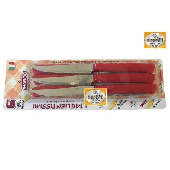 Marietti Coltelleria Tagliettissimi Coltelli Bistecca 6 Pezzi Rosso