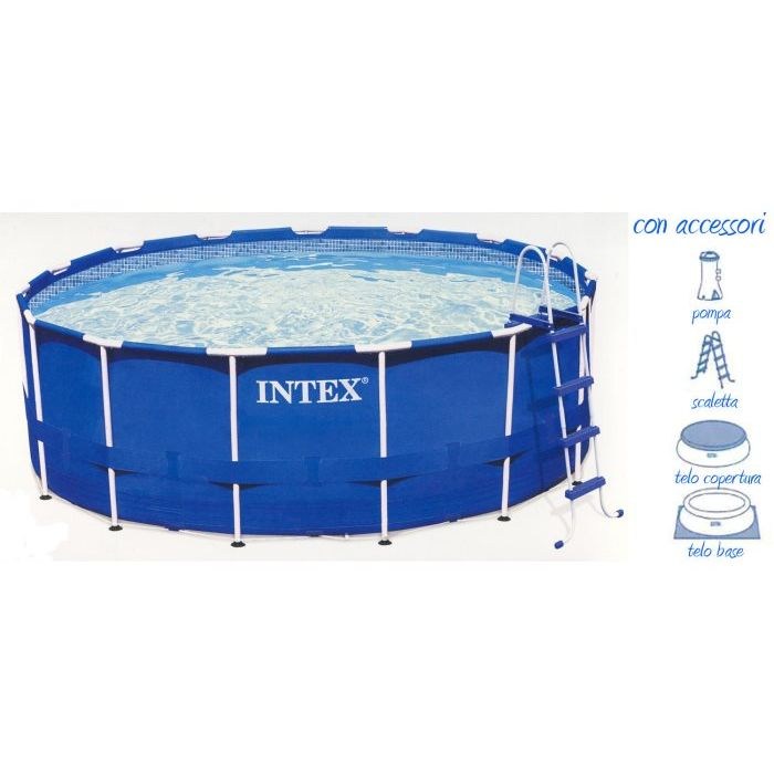 Intex Piscina MFrame Tonda con Accessori 457 x 122 cm