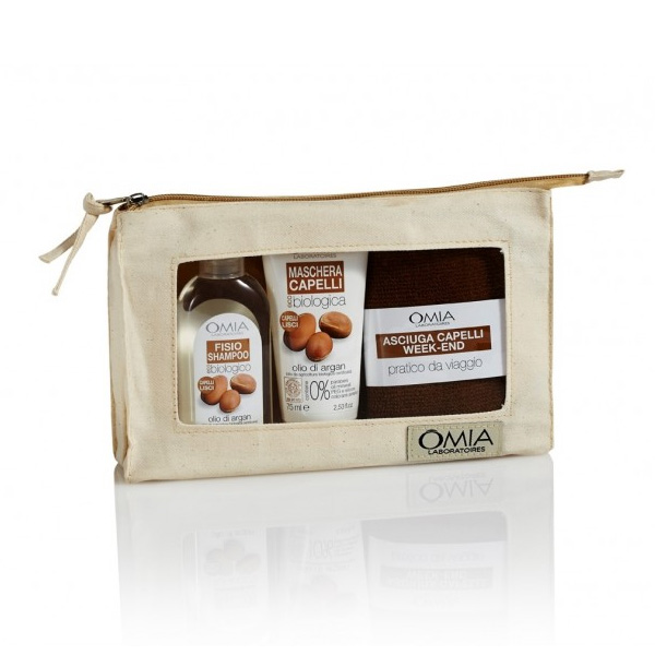Omia  Kit capelli olio di argan  fisio shampoo 100 ml  maschera 75 ml  asciugamano  pochette