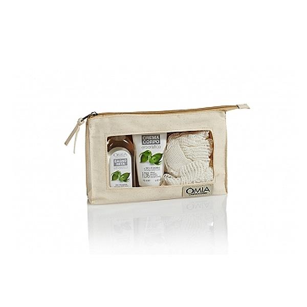 Omia  Kit corpo olio di jojoba  bagno seta 100 ml  crema corpo 75 ml  spugna  pochette