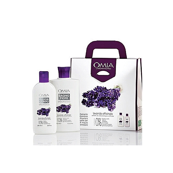 Omia  Cofanetto lavanda officinale bio  bagno fiori 400 ml  crema fluida corpo 250 ml