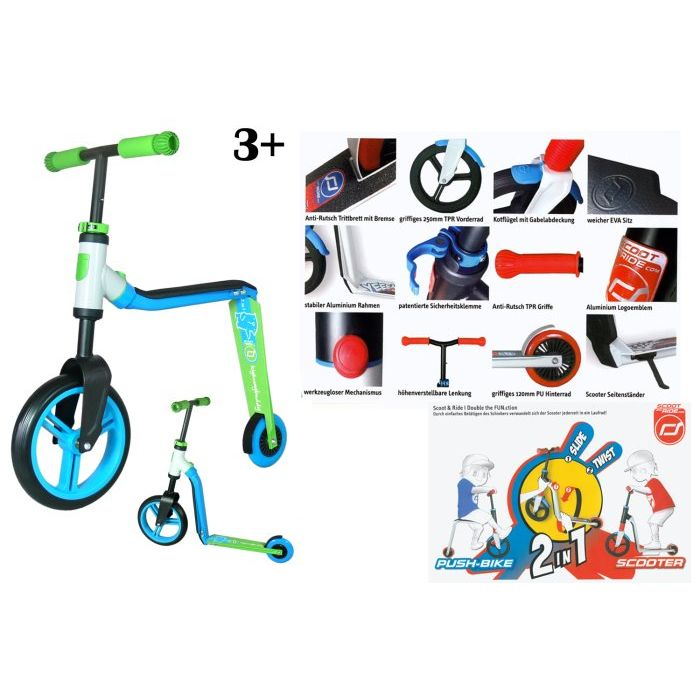 Scoot and ride Scooter 2 in 1 Buddy BlueVerde 3
