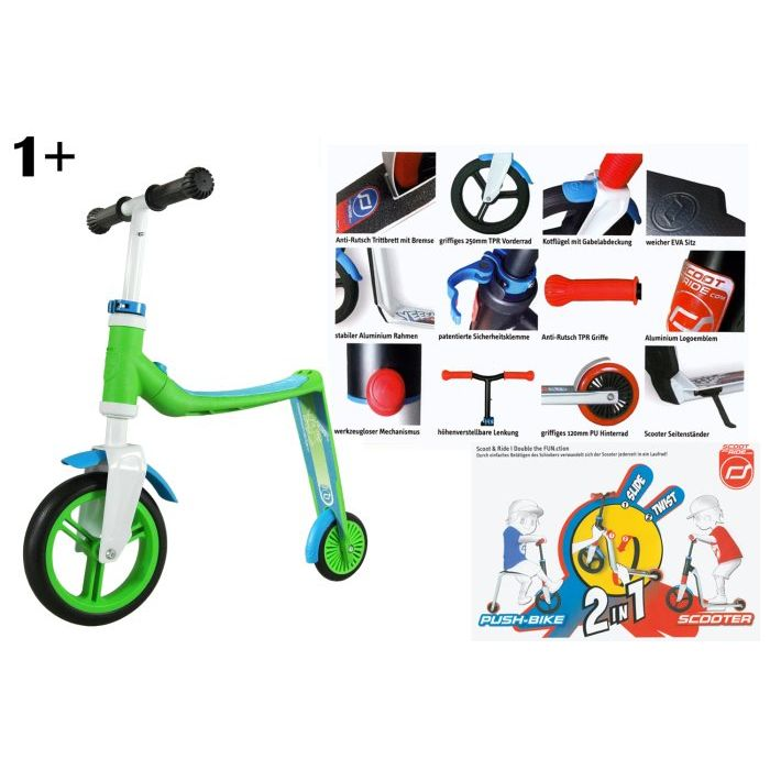Scoot and ride Scooter 2 in 1 Buddy BluVerde 1