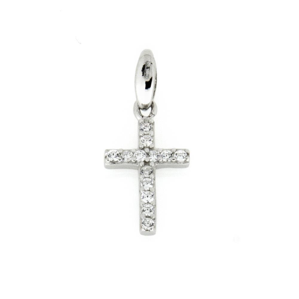 Paclo 15CR16REPR999 Pendente Galvanica Rodiata Motivo Religioso Zircone Bianco 15cm