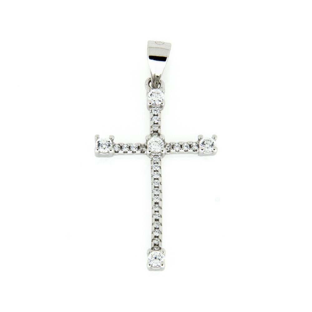 Paclo 15CR18REPR999 Pendente Galvanica Rodiata Motivo Religioso Zircone Bianco 3cm