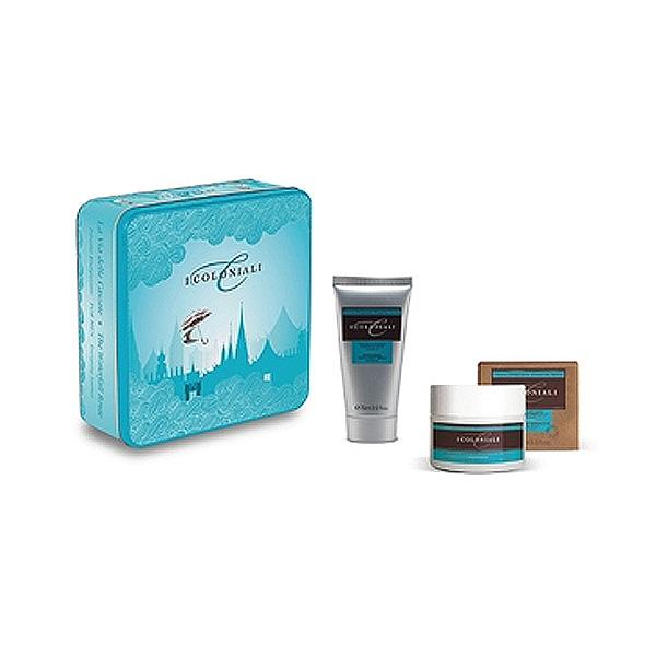 Atkinsons – cofanetto i coloniali energizing box – doccia shampoo ginseng 75 ml + balsamo viso e dopobarba 3 in 1 mango 100 ml + scatola in metallo