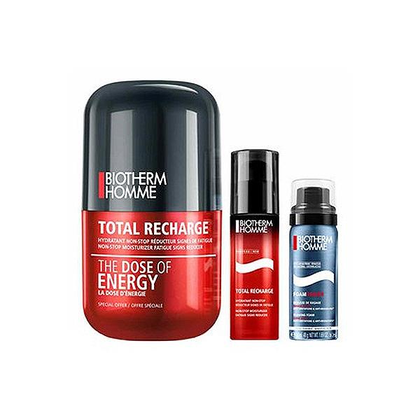 Biotherm  Duo Kit Total Recharge The Dose Mousse da barba antiirritazioni 50ml   trattamento idratante nonstop 50ml